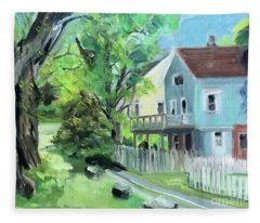 Blue House On A Spring Morning Fleece Blanket