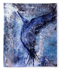 Fleece Blanket featuring the painting Blue Hummingbird by 'REA' Gallery