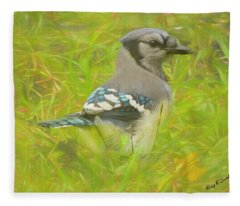 Blue Jay On The Ground. Fleece Blanket
