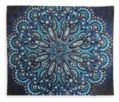 Blue Mandala Fleece Blanket