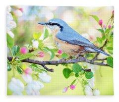 Blue Orange Bird Fleece Blanket