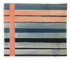 Blue Peachy Stripes Fleece Blanket