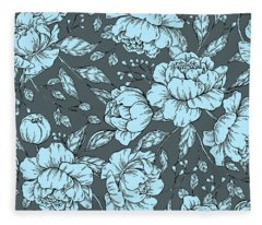 Blue Peonies Fleece Blanket
