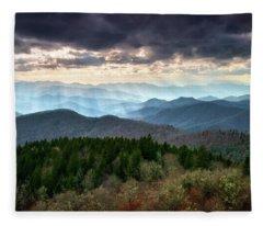 Blue Ridge Mountains Asheville Nc Scenic Light Rays Landscape Photography Fleece Blanket