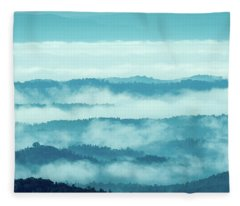 Blue Ridge Mountains Layers Upon Layers In Fog Fleece Blanket