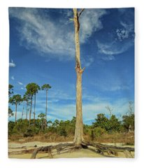 Blue Skies And Broken Branches Fleece Blanket