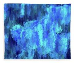 Blue Tulips On A Rainy Day Fleece Blanket
