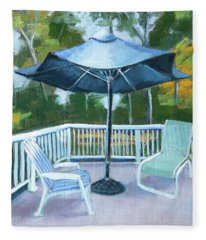 Blue Umbrella On The Deck Fleece Blanket