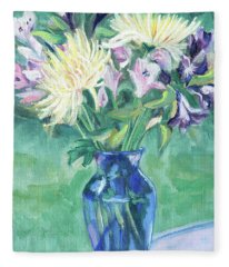 Blue Vase And Cut Flowers Fleece Blanket