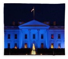 Blue White House Fleece Blanket