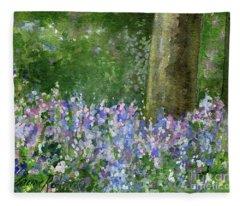 Bluebells Under The Trees Fleece Blanket