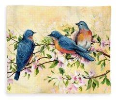 Bluebird Blossoms Fleece Blanket