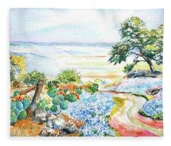 Bluebonnets - Texas Hill Country In Spring Fleece Blanket