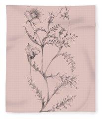 Blush Pink Flower Illustration I Fleece Blanket