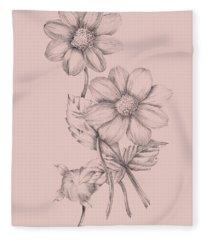 Blush Pink Flower Sketch Fleece Blanket