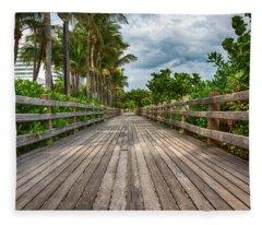 Boardwalk In Miami Beach Fleece Blanket