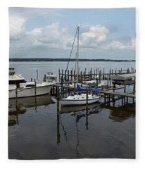 Boat In Harbor Fleece Blanket
