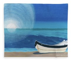 Boat On The Beach Fleece Blanket