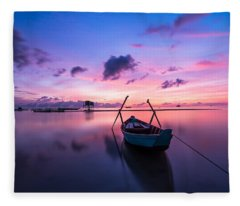 Boat Under The Sunset Fleece Blanket