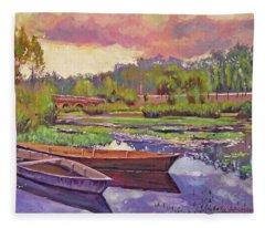 Boats Among The Lilies Fleece Blanket