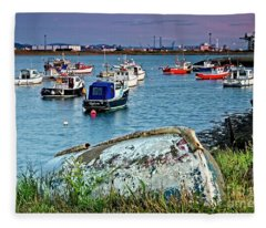 Boats In Harbour, South Gare Fleece Blanket