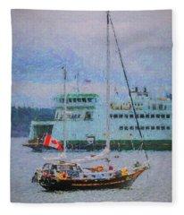 Boats In Puget Sound Fleece Blanket