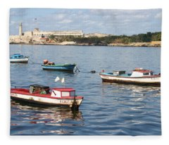 Boats In The Harbor Havana Cuba 112605 Fleece Blanket