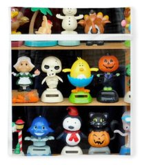 Bobbleheads In Store Window In Schroon Lake Ny In Adirondacks Fleece Blanket