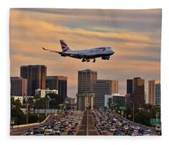 Boeing 747 Landing In San Diego Fleece Blanket