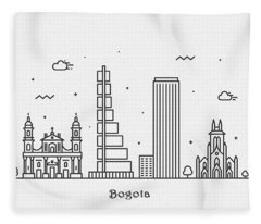 Bogota Cityscape Travel Poster Fleece Blanket