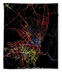 Bogota Colombia City Street Map Watercolor Dark Mode Fleece Blanket