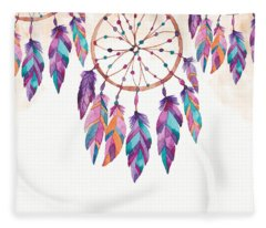 Boho Dreamcatcher - Boho Chic Ethnic Nursery Art Poster Print Fleece Blanket