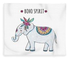 Boho Spirit Elephant - Boho Chic Ethnic Nursery Art Poster Print Fleece Blanket