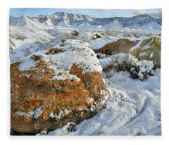 Book Cliffs Boulders And Fresh Snow Fleece Blanket