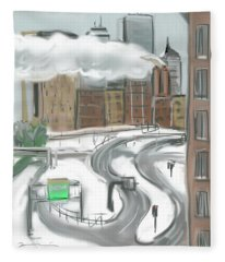 Boston After The Blizzard Fleece Blanket