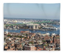 Boston North End And Tobin Bridge  Fleece Blanket
