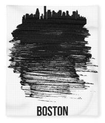 Boston Skyline Brush Stroke Black Fleece Blanket