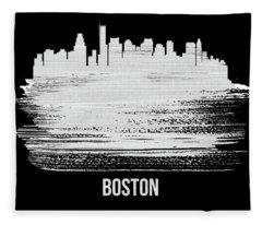 Boston Skyline Brush Stroke White Fleece Blanket
