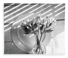 Bouquet And Plate-bw Fleece Blanket