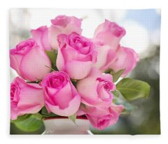 Bouquet Of Pink Roses Fleece Blanket