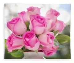 Bouquet Of Pink Roses Fleece Blanket
