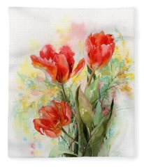 Bouquet Of Red Tulips Fleece Blanket