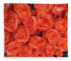 Bouquet Of The  Living Coral Roses Fleece Blanket