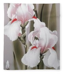 Bouquet Of White Irises Fleece Blanket