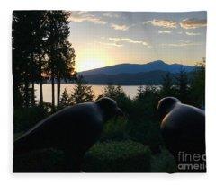 Bowen Island Crows Fleece Blanket