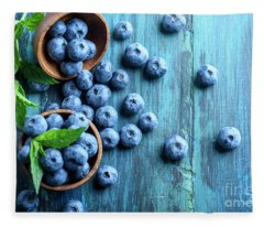 Bowl Of Fresh Blueberries On Blue Rustic Wooden Table From Above Fleece Blanket