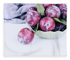 Bowl Of Fresh Plums Fleece Blanket