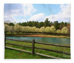 Bradford Pear Trees Blooming Fleece Blanket