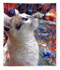 Brady The Half Siamese Half Tabby Cat Fleece Blanket