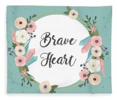 Brave Heart - Boho Chic Ethnic Nursery Art Poster Print Fleece Blanket